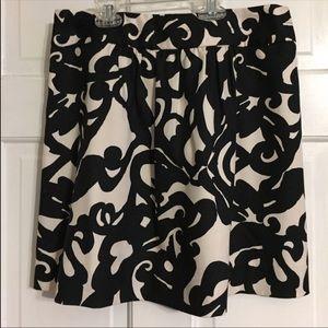 J. Crew Black & Cream Color  Silk Mini Skirt